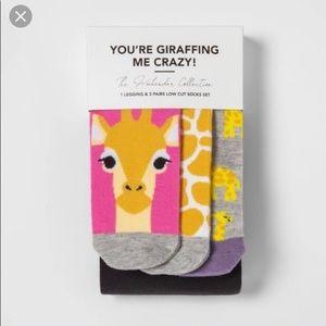 You're Giraffing Me Crazy Legging 3 set of socks L